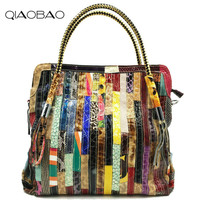 QIAOBAO Patchwork Women Snake Leather Handbags Vintage Large Ladies Hand Bags Girls Soft Genuine Leather Shoulder Bag Lady Totes