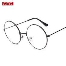 3472f4d45 2019 جديد الرجعية كبيرة نظارات دائرية شفافة المعادن قصر النظر البصريات النظارات  إطار أسود الفضة الذهب نظارات