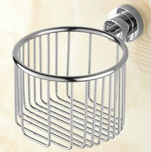 Polished Chrome Brass Wall Mounted Bathroom Toilet Paper Roll Basket Holder Shelf Accessory mba625