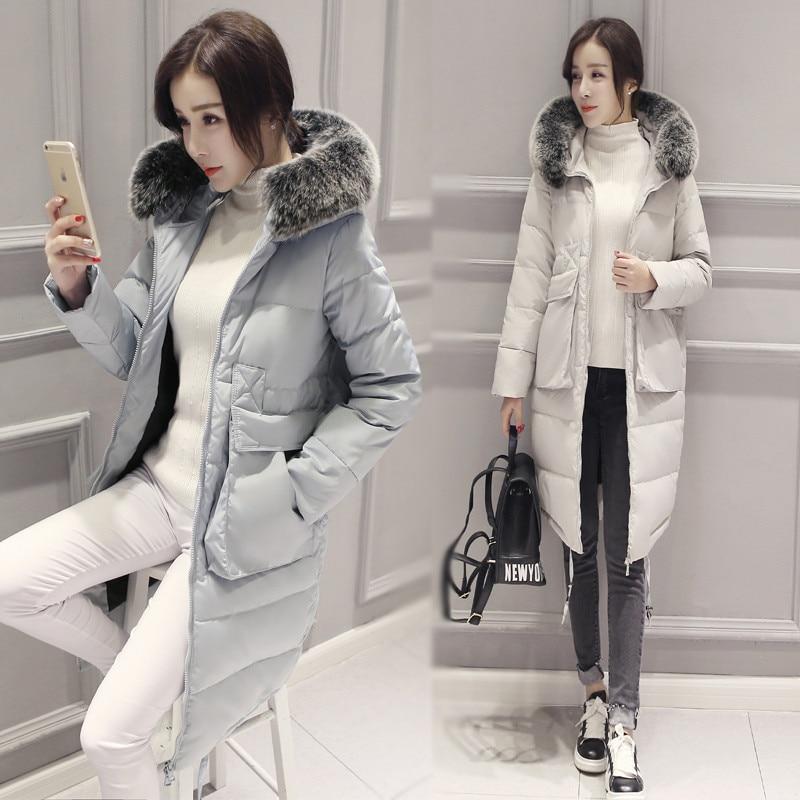 D'hiver Chaud Plus Grey Veste Parkac2455 Long Mode Col Manteau Femme La Fourrure Pink Black De light Nouvelle Taille Femmes Mince blue Parka Style light aWTqnxdRW