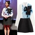 Señorita 2016 coreana Song Hye Kyo elegante mujeres camiseta se visten de blanco Turn down Collar Mini vestido de bola de flores de tinta de impresión de T15B19