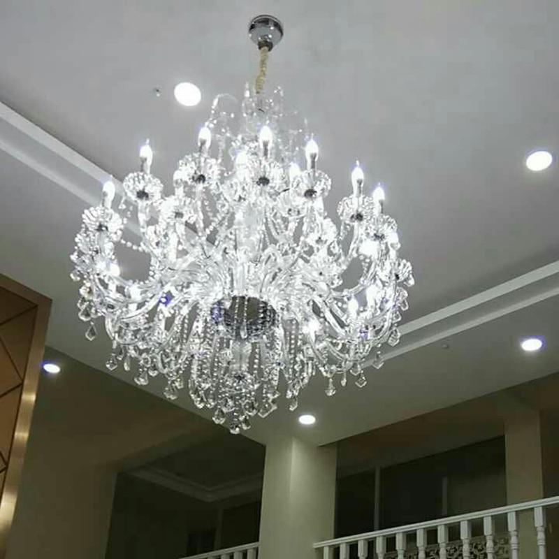 duży żyrandol z kryształowymi zawieszkami duża lampa do hotelu - Oświetlenie wewnętrzne - Zdjęcie 3