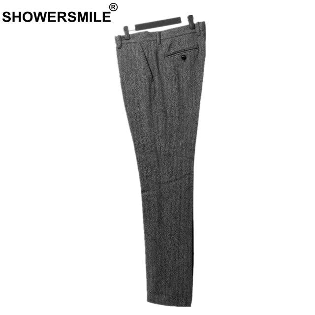fd2c23b64 SHOWERSMILE Men Retro Pants Wool Trousers Men Business Grey Herringbone Slim  Fit Dress Pants Tweed Woolen Clothing England Style