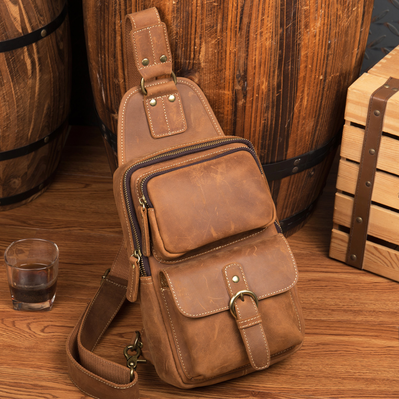 LAPOE Genuine Leather Men Bag male chest bag travel shoulder Man Crossbody Bags Men Messenger Bags Phone Sling Chest Pack цена