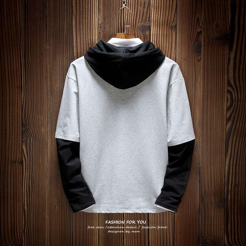2018 New Mens Hoodies Hit Color Men Patchwork Long Sleeve Pullover Printing Hip Hop Black Gray Autumn Men 39 s Sweatshirts in Hoodies amp Sweatshirts from Men 39 s Clothing