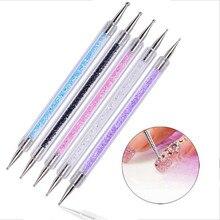 Duplo-ended prego pontilhar caneta contas de cristal lidar com strass studs picker cera lápis manicure unha arte ferramenta