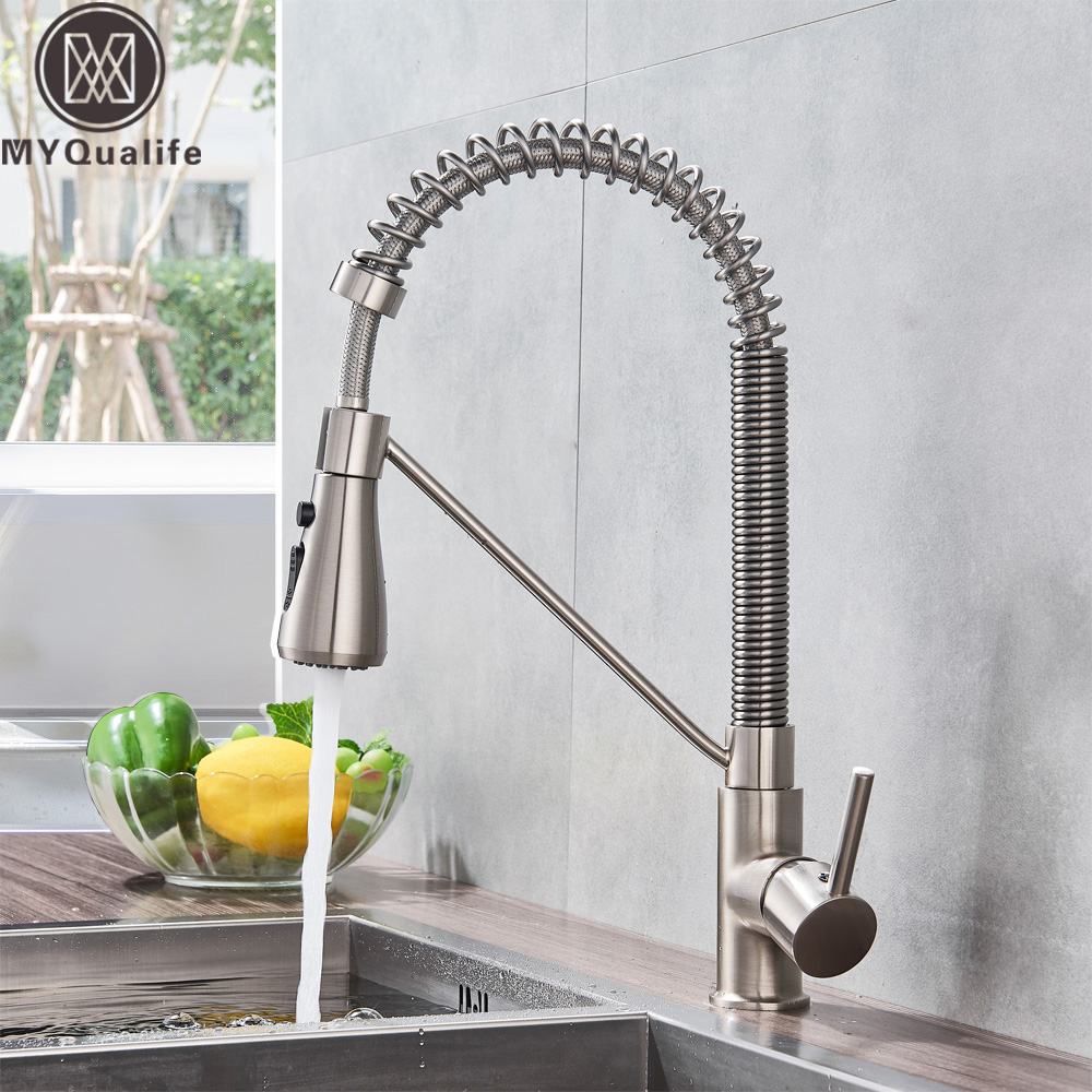 US $49.0 40% OFF|Brushed Nickel Kitchen Faucet Single Handle Bathroom  Kitchen Mixers Kitchen Sink Faucet Hot Cold Water Crane Tap for Kitchen-in  ...