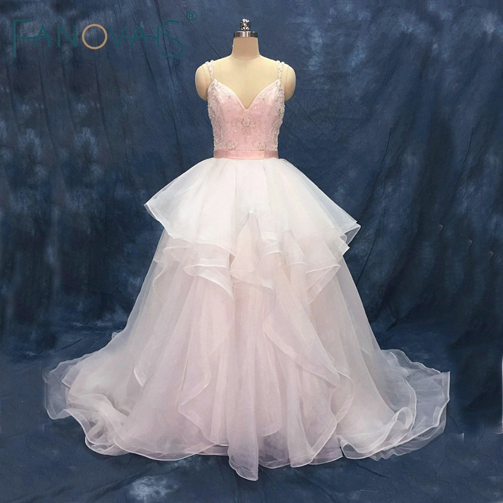 Sexy Spaghetti Beads Tulle Wedding Dresses Vestido de Novia Light Pink Robe de Mariee Wedding Gowns Luxury Bridal Gowns 2019