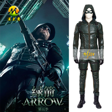Newest Green Arrow Season 5 Oliver Queen Cosplay Costume Man Leather Hoodie Jacket Halloween Clothing Full Set
