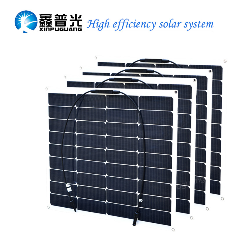 цена на 4pcs 18v 50w -60w semi flexible solar panel 200w solar module cell MC4 connector for 12v battery light RV yacht car charger