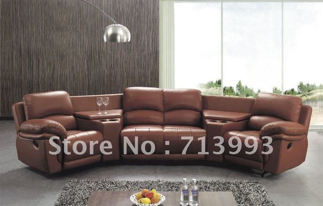 Corner Recliner Sofa Functional With Cup Holder Leather