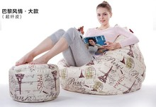 Ywxuege Lazy sofa bean bag  fabric single leather sofa chair leisure with footstool microfiber large size