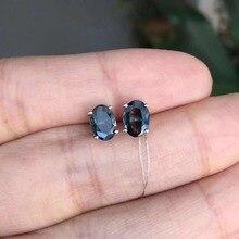 Натуральный черный сапфир 4*5 мм овальные серьги-гвоздики для женщин модные женские Стерлинговое Серебро-ювелирные изделия