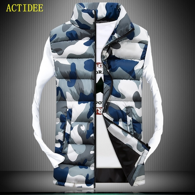 2016 Men's Stand Collar Camouflage Vest Men Winter Sleeveless Casual Jackets Male Female Slim Camo Waistcoat Brand Clothing