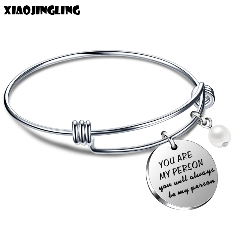 XIAOJINGLING Engraved Stainless Steel Bracelet Hot Sales Letter You Are My Person Pendant Bangles For Lovers Jewelry For Women
