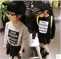 Autumn and winter new children 's dress printed letters chiffon long - sleeved sweater kids girls dresses