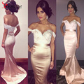 2016 Mermaid Sexy Bridesmaid Dresses sweetheart Off the Shoulder Beading Pearls Sequins Prom Gowns Sweep Train  Dress