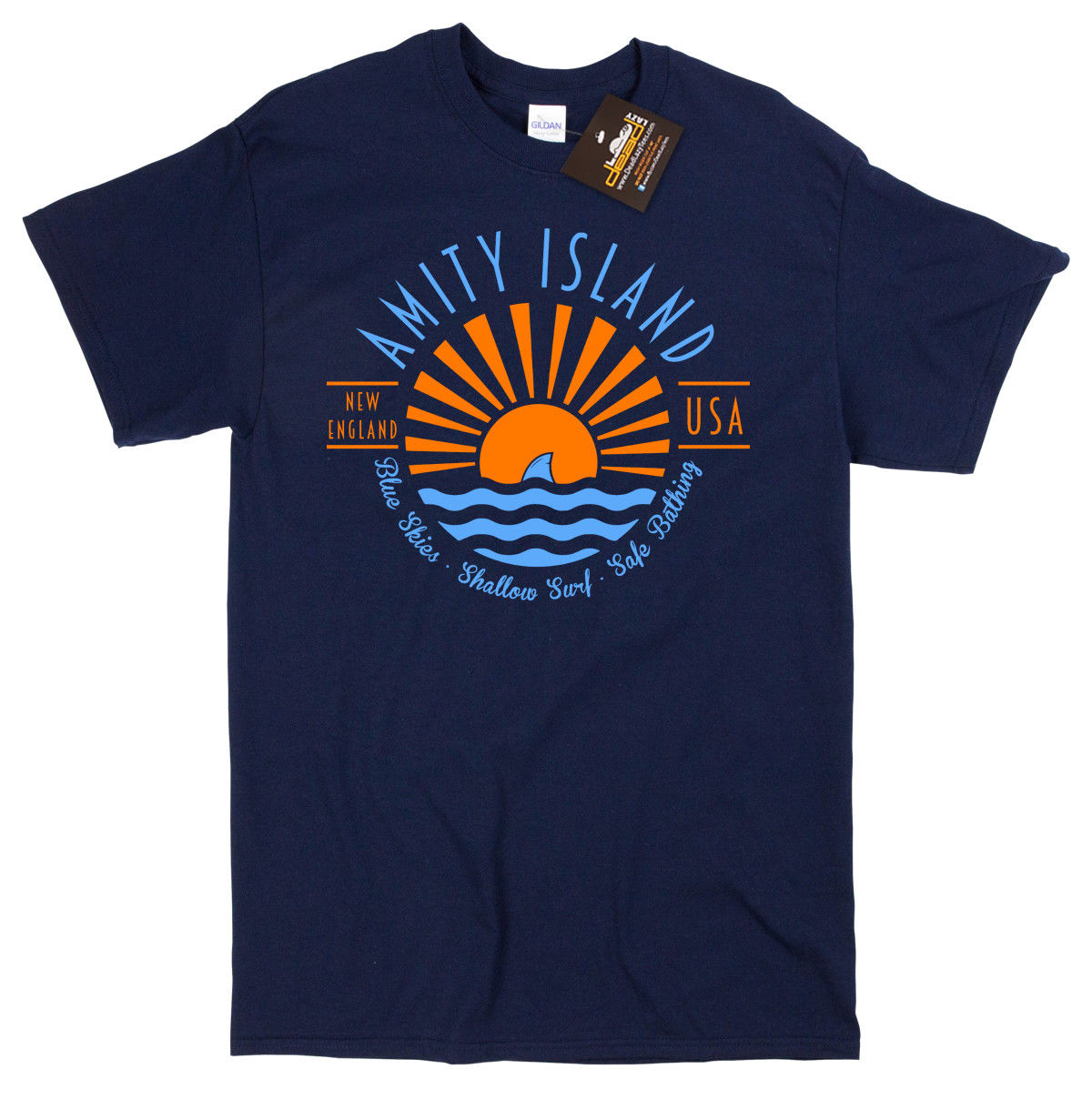 Amity Island Inspired by Jaws the movie - Retro classic film sharks movie NEW Cheap wholesale tees,100% Cotton For Man, image