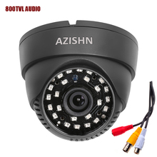 New audio Dome camera 800TVL 1/4″ CMOS with IR-CUT 3.6mm lens 24pcs Laser (QT5524) IR with audio cctv security indoor camera