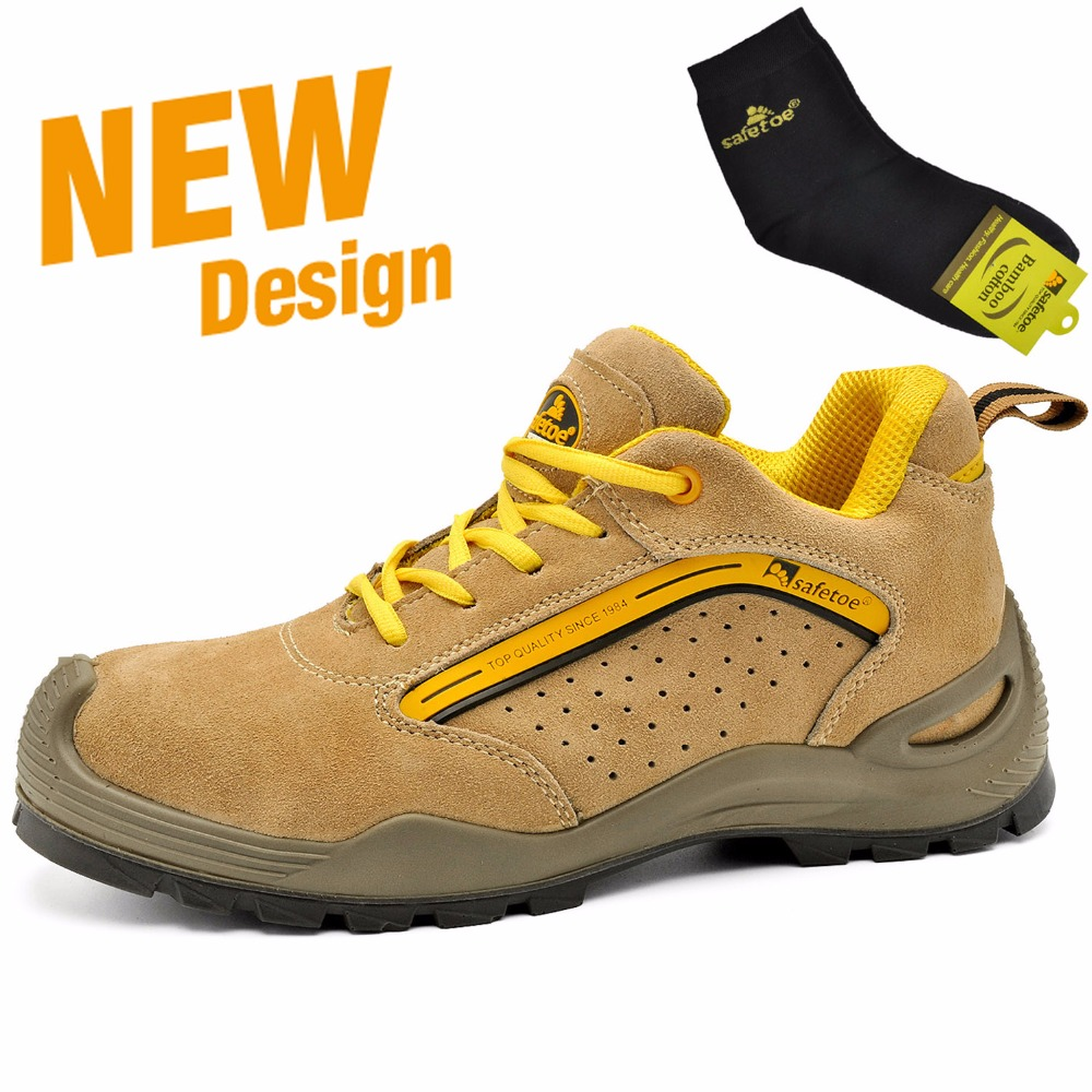 Safetoe Safety Shoes Steel Toe Casual Work Shoes Leather Safety Boots Steel Toe Work Boots Mens Lace Up Shoes Summer Breathable women safety shoes steel toe cap women summer breathable work shoes safety shoes for men casual steel toe boots sepatu safety