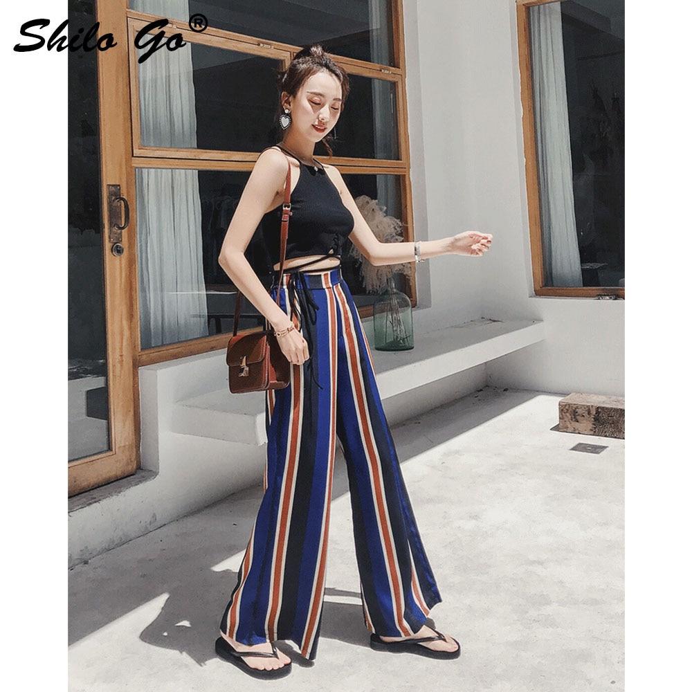 Las Mujer Split Cintura Capris Verano Chic Playa Pierna Casuales Amplia Raya Mujeres Streetwear Pantalones De Alta Azul pXgqX