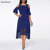Women Cold Shoulder Flare Cuff Lace Panel Dress A Line Patchwork Mid Calf Elegant Plus Size O neck Summer Party Dress