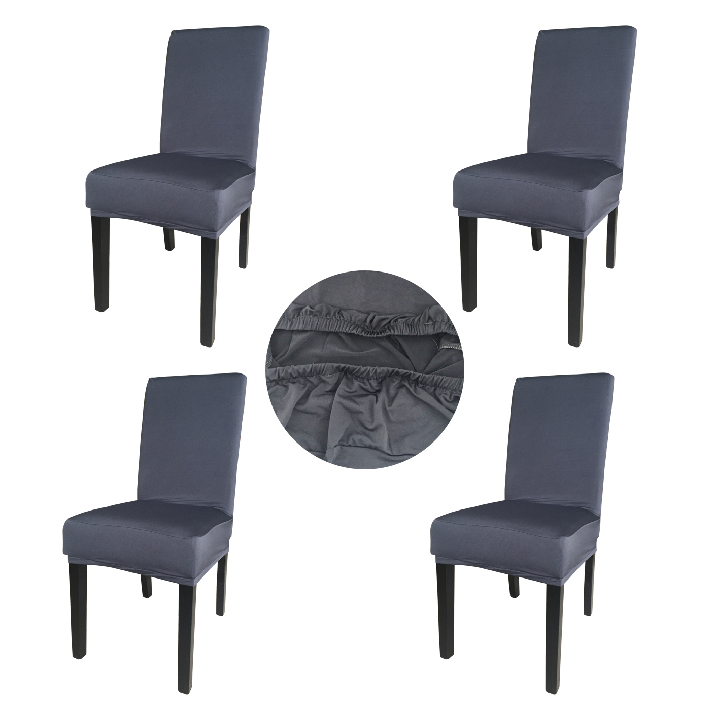 Wholesales 4 Pieces Gray Spandex Fabric Stretch Removable Washable Dining Room Chair Cover Protector Seat Slipcovers SCS-4GR