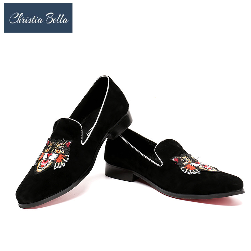 Christia Bella Smoking Slippers Summer Mens Loafers Embroidered Leather Oxfords Casual Slip On Party Dress Shoes Plus Size 38-47 все цены