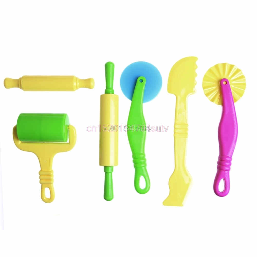 6x Pottery Clay Plasticine Dough Sculpture Modelling Tools Kids Pretend Play Toy #H055# ...