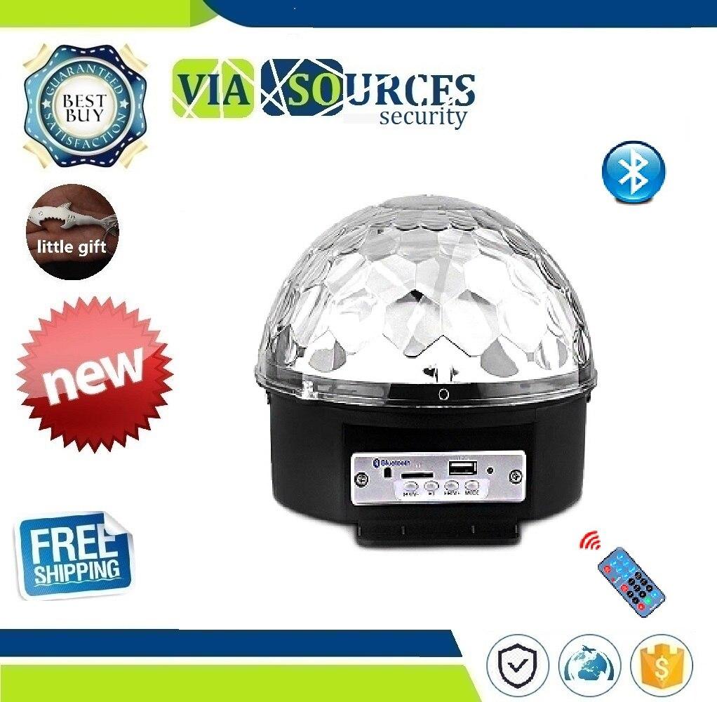 Led Bluetooth Speaker Stage Light Sound Control Stage Lamp 9 Colors Flash Lamp Wedding Magic Crystal Ball U Disk Broadcast