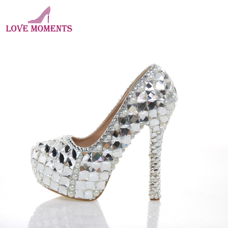 Sparkling Bridal Wedding Shoes High Heel Crystal Rhinestone Shoes for Bride Banquet Evening Party Shoes Handmade Dress Shoes ab crystal diamond exquisite wedding shoes sparkling rhinestone handcraft bridal shoes thin heel evening prom party women pumps
