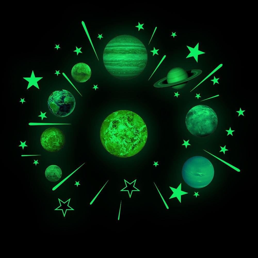 Lune lumineuse neuf planètes système solaire etoiles autocollants brillants décoration chambre d'enfant PVC autocollants muraux lumineux auto-adhésif