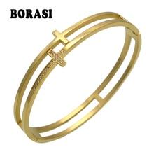 Punk Bracelet Bangles Jewelry Cuff Pave-Setting Stainless-Steel Women Fashion-Brand