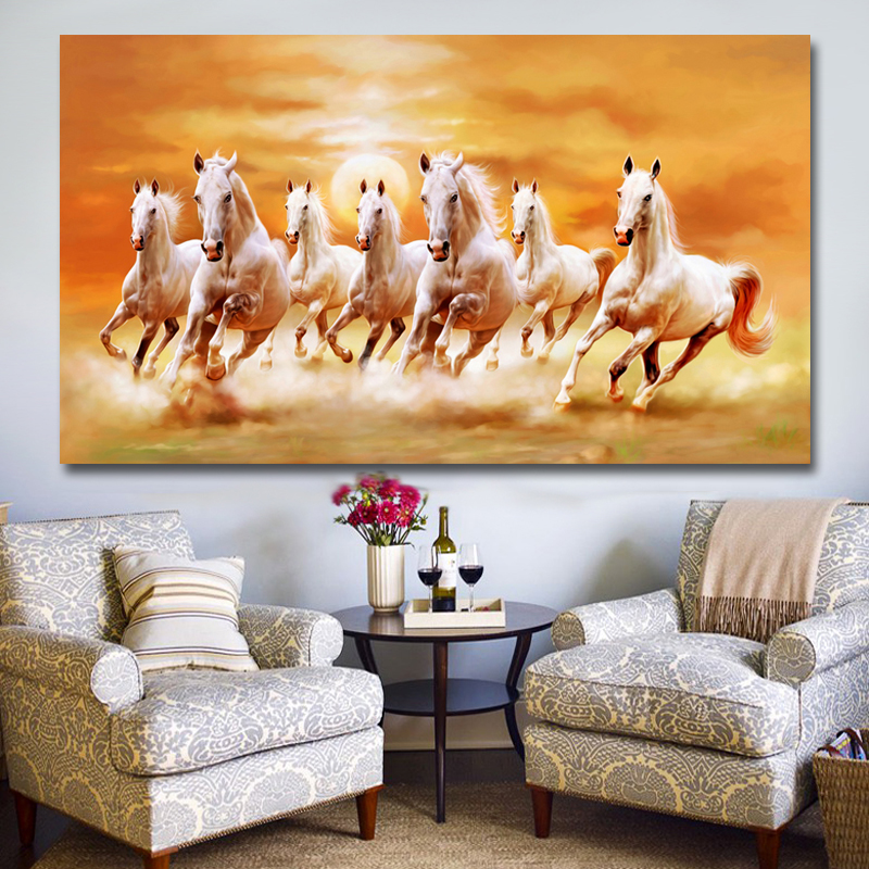 Modern Seven Running Horses Canvas Painting Wall Art Poster And Prints Picture Home Decoration For Living Room No Frame