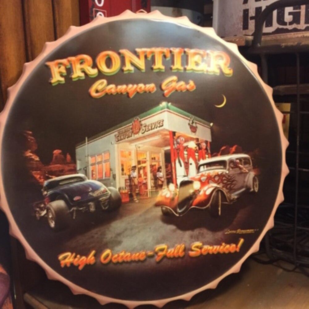 FRONTIER grande bière couverture étain signe Logo Plaque Vintage métal peinture mur autocollant fer panneau décoratif plaques 50X50 CM
