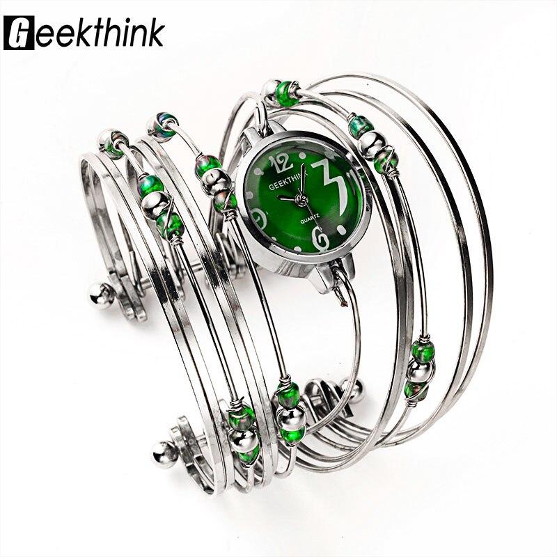 Geekthink богемный Стиль Элитный бренд кварцевые часы Для женщин браслет женские повседневные платья Сталь группа часы женские Обувь для дево
