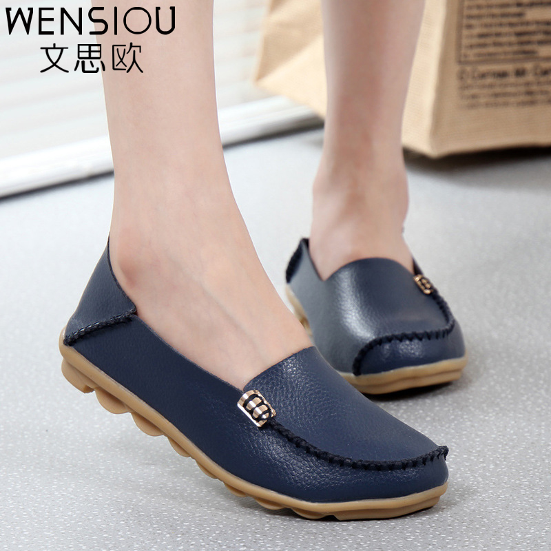 Fashion women casual shoes spring women Flats solid color loafers mother leather shoes Slip on female flats ladies 2017 SRT432 hot 2017 new fashion womens weave shoes spring summer mixed color breathable casual shoes flats slip on loafers tenis feminino