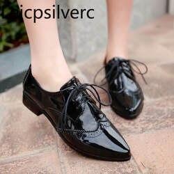 Туфли-лодочки новые весенне-осенние Стильные повседневные женские тонкие туфли с острым носком на шнуровке на низком каблуке 34-39