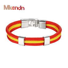 MKENDN New Fashion Country Spain Flag Nylon Rope Leather Bracelet Easy-hook Bracelets & Bangles Male Female Jewelry Pulseras(China)
