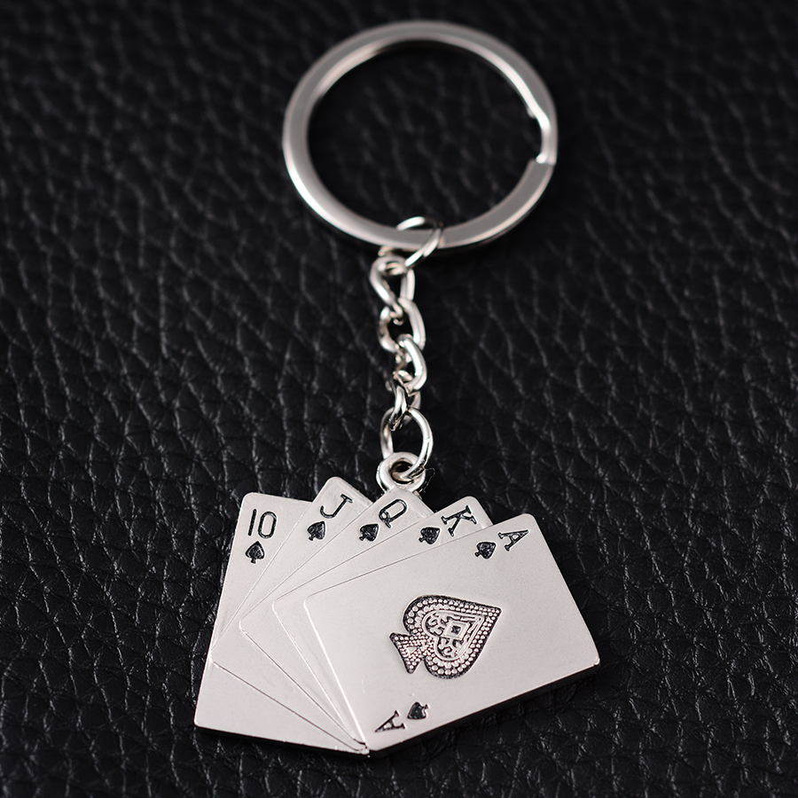Novelty Trinket Gifts Fashion Creative Poker Metal Key Chains Holder Alloy Keyring porte clef Charm Jewelry Souvenir Gift J017