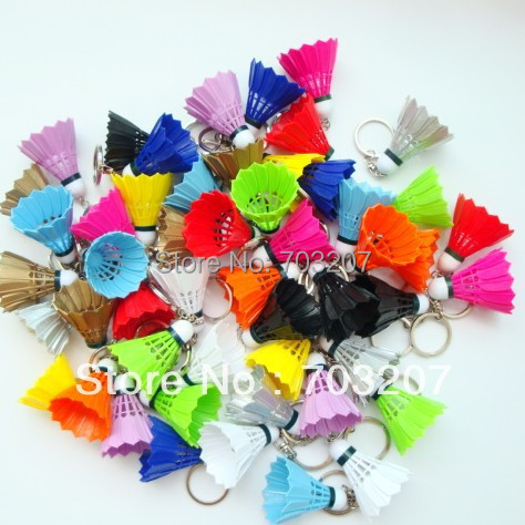 Free Shipping(50pcs/lot)fashional Key Colorful Badminton Decorations Badminton Chain Badminton Pendant Accessories Keychain