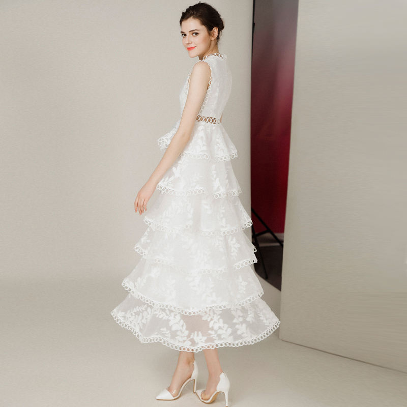 white party outfits for women organza embroidered dress hollow out circle rings sleeveless ankle length woman dresses ball gown