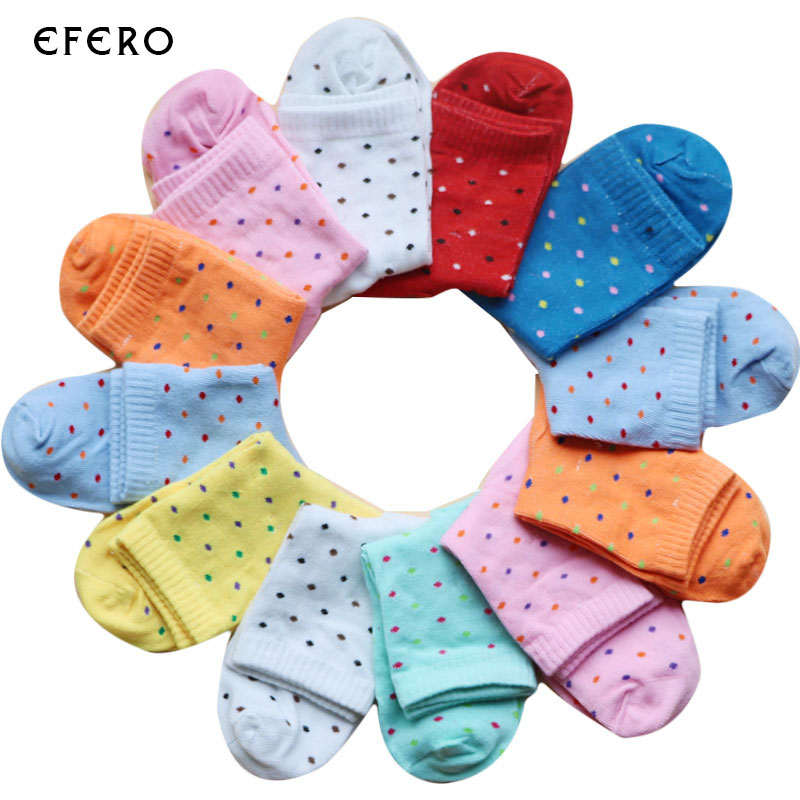 5Pairs Cute Womens Socks Candy Dots Polka Dot Printed Ankle Socks Warm Sock Women Socks Art Calcetines Mujer Chausettes Femme