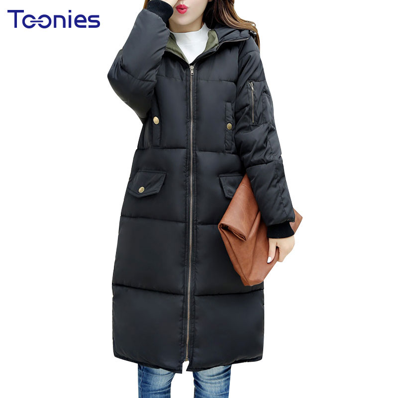 Women Winter Cotton Coats Black Winter Warm Thickened Jacket Parkas Zipper Plus Size Outwear Straight Knee Length Coat Casacos