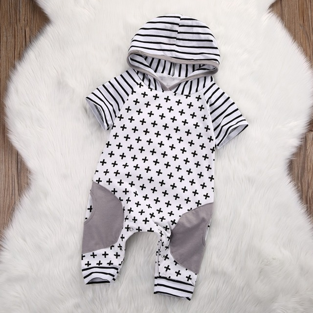 4557a426b0880 US $3.61 17% OFF|New 2019 Summer Baby Boy Girl Hooded Romper Baby Clothes  Newborns Geometric Striped Toddler Jumpsuit Infant Clothing-in Rompers from  ...