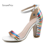 Woman Square High Heel Open Toe Summer Sandals Fashion Mixed Color Dress Shoes Woman Black White