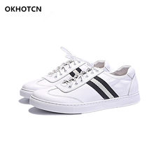 0adbe53fb2ca Brand Name Designers Men Casual Shoes White Genuine Leather Sneakers Cross  Tied Lace Up Soft Rubber Heel Man Leisure Shoes