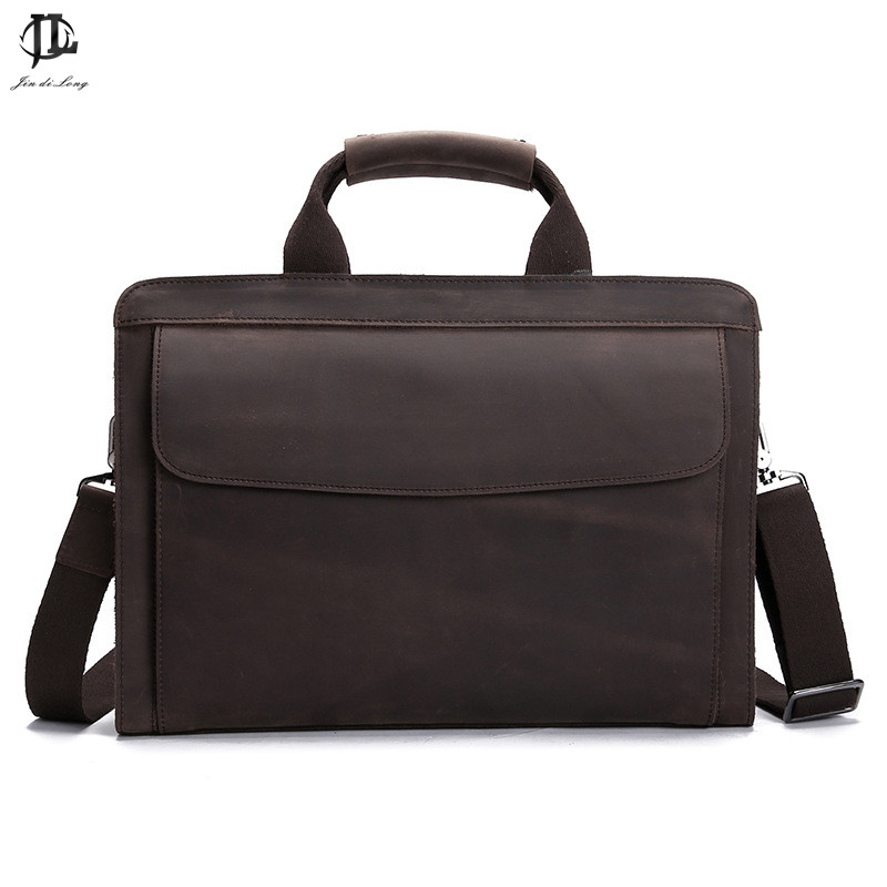 aceb9e11081 Retro crazy horse Genuine Leather Bag Business Laptop Bag Briefcase Men  Leather Crossbody bag Shoulder Messenger Men tote bag