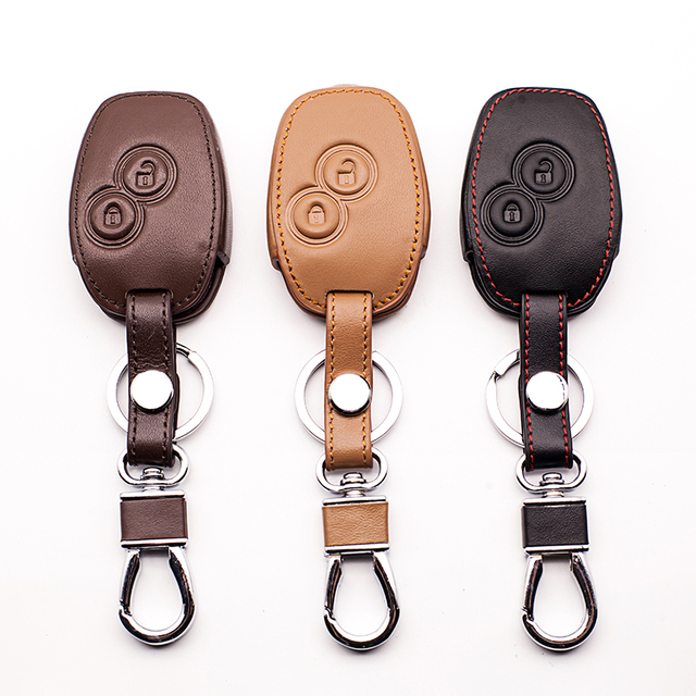 Leather car key case cover For Renault Kangoo Scenic Megane Sandero Captur Twingo Modus remote control cover 2 buttons Key Shell