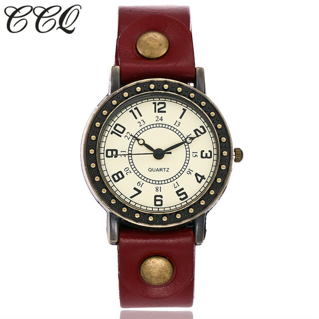 2017 New CCQ Brand Vintage Fashion Simple Watch Casual Cow Leather Quartz Watch